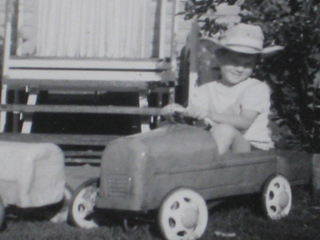 Neville in his first ute early 70's after it had been run over and repaired